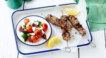 BBQ Beef Souvlaki and Grilled Tomato Salad Recipe