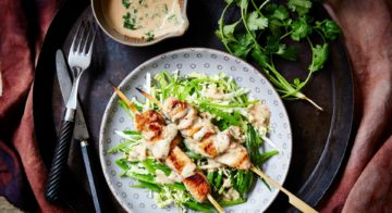Chicken Satay Skewers With Coleslaw Recipe