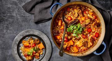 Lamb, pumpkin and orzo braise Recipe