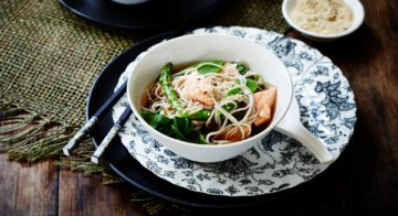 Soy-Poached Salmon With Noodles Recipe