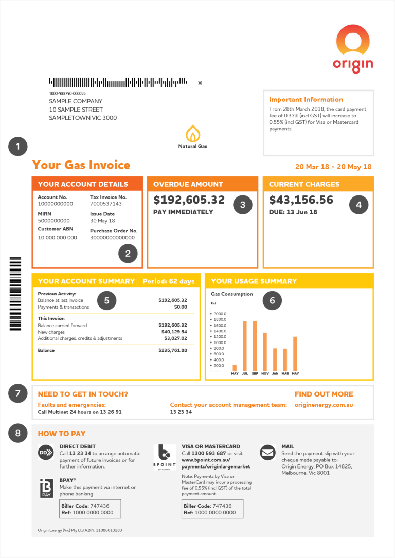 Page 1 of Origin commercial natural gas bill
