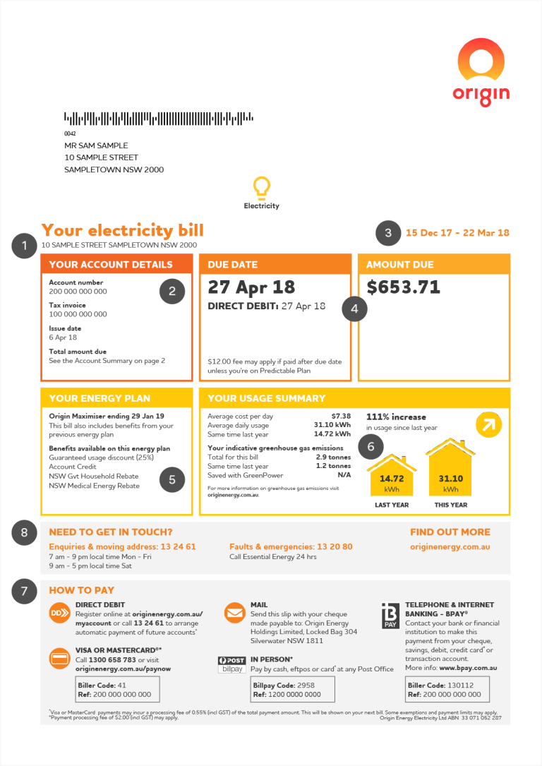 How To Read Your Bill Origin Energy